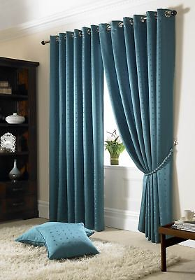 Jacquard Check Teal Lined Ring Top Eyelet Curtains Drapes *6 Sizes* • 42.99£