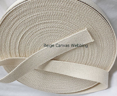 38MM WIDE Beige/Natural 2.4mm Thin Webbing COTTON BELT STRAPPING SEWING Tape • 8.79£