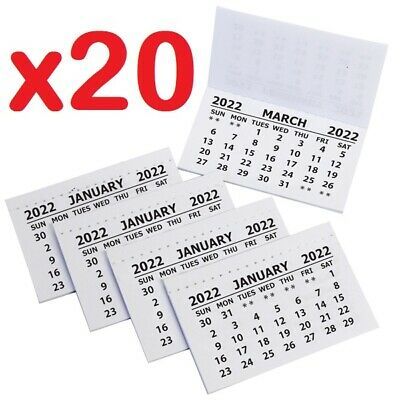 £3.29 • Buy 20 X 2021 Calendar Tabs / Insert White Mini Calender Tear Off Pads Month To View