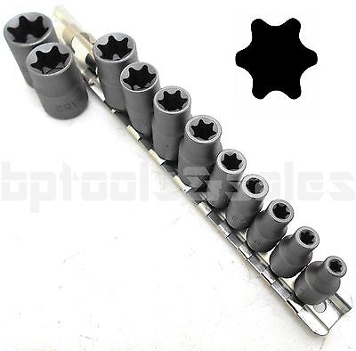 $12.99 • Buy 11pc Torx Star Bit Female E Socket Set Automotive Shop Tools External E4-E20