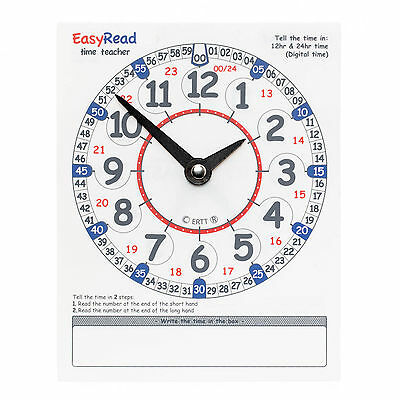 £4.99 • Buy EasyRead Twin Learn To Tell The Time Time Teaching Wipe Clean Learning Clock