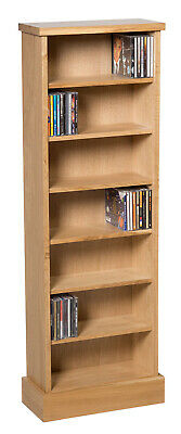 Oak CD Storage Rack | Wooden Shelving Tower/Holder/Stand/Unit With 7 Shelves • 109.99£