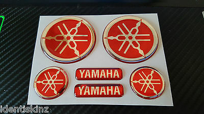 AU22.08 • Buy Domed Yamaha Bike Roundal Stickers Decal Silver / Red  Full Kit Forks / Tank