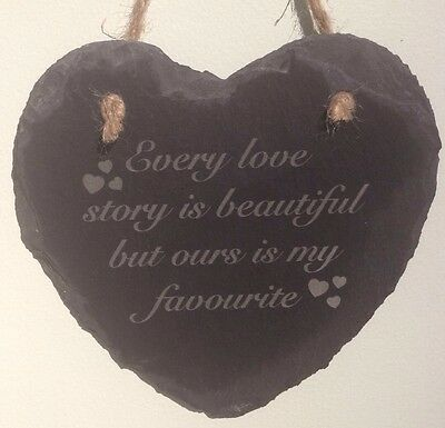Slate Hanging Heart Every Love Story Gift Present Valentine Wedding Anniversary • 9.99£