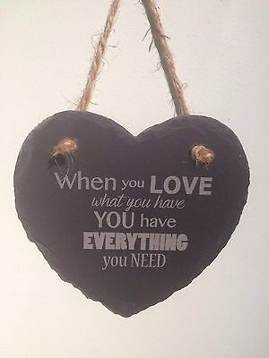 Hanging Slate Heart When You Love - Valentine Wedding Anniversary  Gift Present • 9.99£