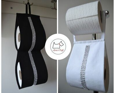 Fabric Toilet Roll Holder White / Black With Silver Sparkle Diamonds Ribbon  • 13.99£