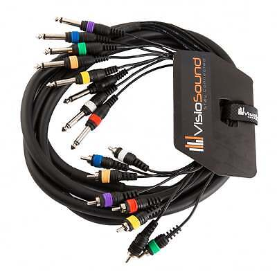 8-Way 3m 6.35mm 1/4  Mono Jack To RCA Phono Loom / Effects Patch Multicore Cable • 17.99£