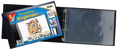 A3 Landscape 4-D Ring Binder + 5 Sleeves - Folder File Presentation Portfolio • 13.95£