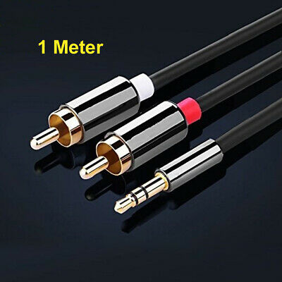 £3.99 • Buy 1 Meter Stereo 3.5mm Jack Plug To TWIN 2 X RCA PHONO Audio Lead GOLD CABLE Male