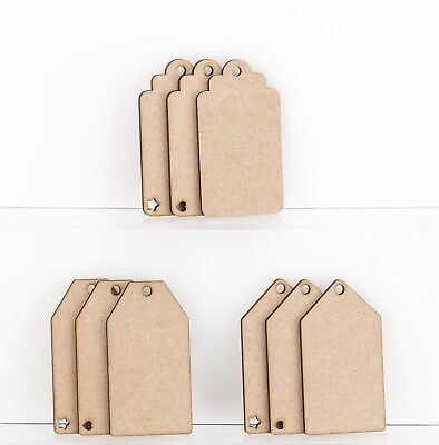 Wooden MDF Luggage Gift Tag Shapes Tags Plaques Embellishments Decoration Craft • 3.80£