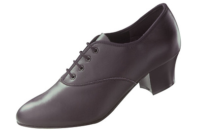 Black Leather Cuban Heel Oxford Character/tap Dance Shoes With Teletone Toe Taps • 15£
