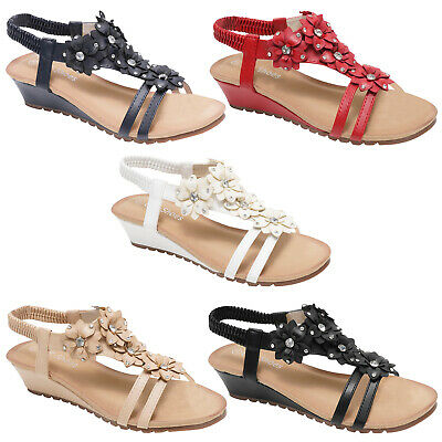 Ladies Womens Sandals Strappy Gladiator Mid Low Wedge Evening Summer Beach Shoes • 9.99£