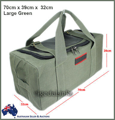 AU34.99 • Buy New CANVAS DUFFLE LARGE BAG CARRY BAG Tough Tool Travel Luggage Camping Green-UL