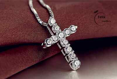 Crystal Cross Pendant Necklace 925 Sterling Silver Chain Womens Jewellery Jesus • 3.49£