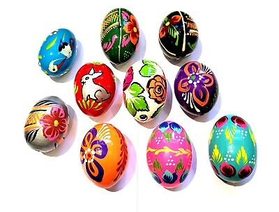 £13.99 • Buy Wooden Easter Eggs - HAND PAINTED - 10 Each Decorations Egg - PISANKI