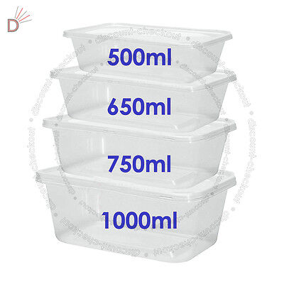 £8.62 • Buy All Sizes - Plastic Containers Tubs Clear With Lids Microwave Food Safe Takeaway