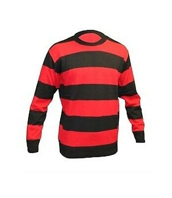 Unisex Adults Red & Black World Book Week Striped Fancy Dress Jumper Sweater Hen • 12.49£