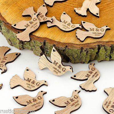 Personalised Wooden Dove Table Decorations. Rustic Vintage Bird Wedding Favours. • 14.99£