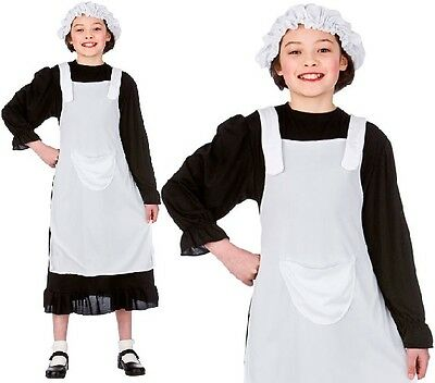 £8.99 • Buy Childrens Girls Poor Victorian Girl Fancy Dress Costume Childs Blk/Wht Outfit W