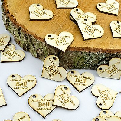 Personalised 4cm Wooden Love Heart Wedding Favours, Invites, Table Decorations. • 2.99£