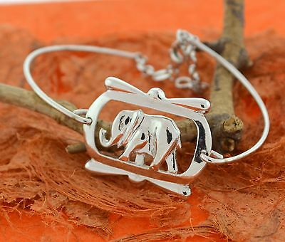 Elephant Bangle Bracelet -Sterling Silver- Charm,Indie,Lucky,Bangle,Fancy,Cute • 70.91£
