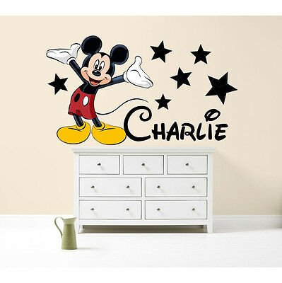 Mickey Mouse Walt Disney Personalised With Any Name Decal Wall Art Sticker  • 19.99£