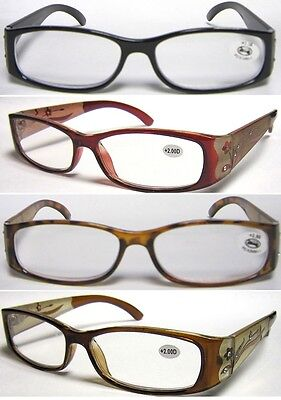 £3.79 • Buy L23 High Quality Womens Reading Glasses/diamante & Engraving Flower Pattern Arms