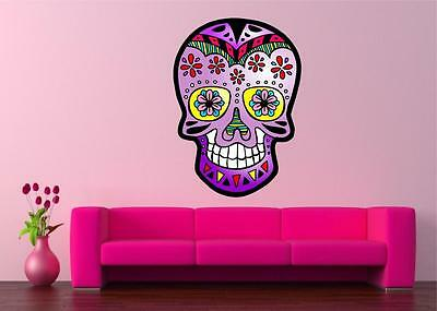 MEXICAN SUGAR SKULL TATTOO DESIGN CALAVERA WALL STICKER Decal Art Vinyl 5 Sizes • 27.99£