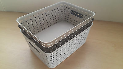 Rattan Small Style Storage Basket 3 Assorted Colours Beige Brown White Cheap! • 6.56£