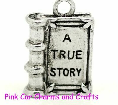5 X Tibetan Silver BOOK FAIRYTALE - A TRUE STORY 18mm 3D Charms Pendants Beads • 2.38£