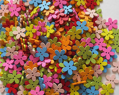 Mixed Wooden Daisy 2 Hole Flower Shaped Buttons/craft/sewing/15mm/var Qty • 2.38£