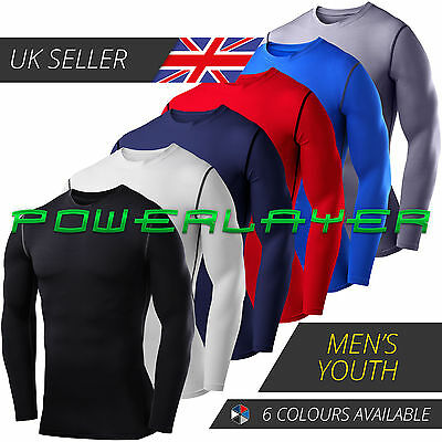 Mens Boys PowerLayer Compression Baselayers Thermal Running Gym Top Long Sleeve • 13.99£