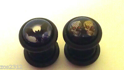 Fake Cheater Ear Plugs Earring Stretcher 10mm Skull Or Bat Logo Acrylic Free P&P • 1.75£