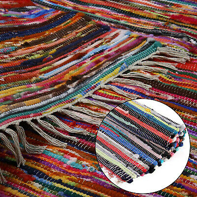 £8.99 • Buy Large Chindi Rag Rug Hand Loomed Indian Fair Trade Recycled Woven Mat