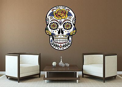MEXICAN SUGAR SKULL TATTOO DESIGN ROSE CALAVERA WALL STICKER Decal Art 5 Sizes • 12.99£