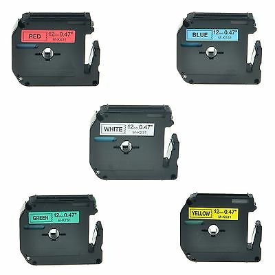 $12.99 • Buy 5PK MK M-K 231 431 531 631 731 Label Tape For Brother P-Touch PT-65SB 1/2  12mm