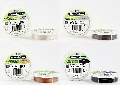 Beadalon 7 Strands Bead Stringing Wire Stainless Steel * Many Colors & Sizes • 3.27£