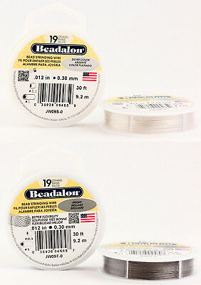 Beadalon 19 Strands Bead Stringing Wire Stainless Steel * Many Colors & Sizes • 9.70£