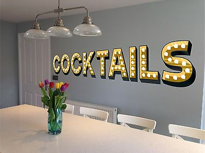 COCKTAILS Light Up Illuminated Effect Letters Wall Sticker Decal Art Kitchen • 18.99£