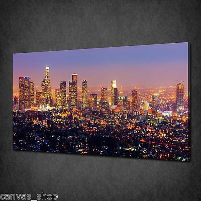 £21.85 • Buy Los Angeles City Skyline At Night Canvas Print Wall Art Picture Ready To Hang