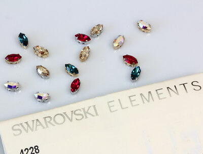 Genuine SWAROVSKI 4228 XILION Navette Crystals With Sew On Metal Settings • 5.97£