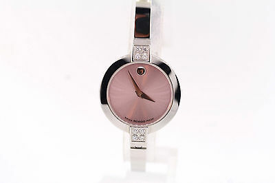 $319.20 • Buy Ladies Movado 0606243 Bela Stainless Steel Diamond Accented Pink Dial Watch