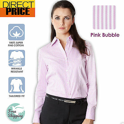 AU22.95 • Buy Womens Blouse Shirts Cotton Ladies Casual Office Top Business Herringbone Pink