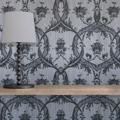 Damask Wallpaper Glitter Textured Vinyl Heavyweight Italian Grey Black Milano • 16.95£