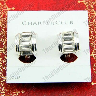 CLIP ON Curve CRYSTAL Glass EARRINGS Silver Rhinestone EZ Clips Huggie Half Hoop • 2.50£