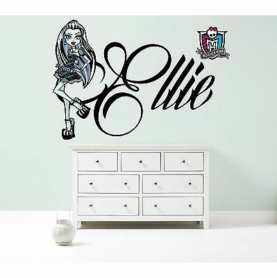 MONSTER HIGH FRANKIE PERSONALISED WALL STICKER Girl's Bedroom Decal Art 3 Sizes • 20.99£