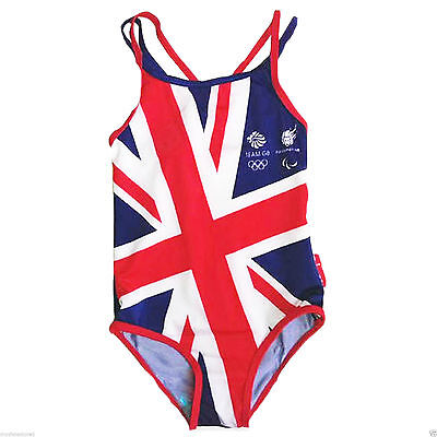 New Girls Olympic Swimming Costumes Great Britain England Design Swimsuit Swim • 2.95£