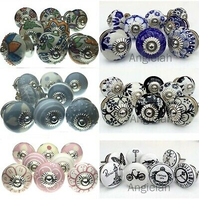 8 PACK CERAMIC DOOR KNOBS Drawer Pulls Cupboard Handles Vintage Artisan Kids SET • 23.95£