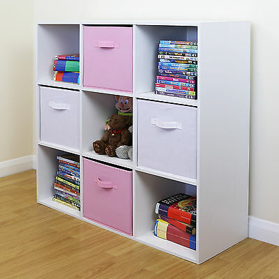 9 Cube Kids Pink & White Toy/Games Storage Unit Girls/Boys Bedroom Shelves/Boxes • 66.99£
