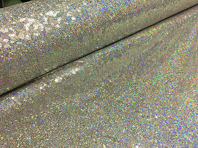 3mm Sequin Fabric Material Stretch Sparking Silver Hologram Paillette 120cm Wide • 0.99£